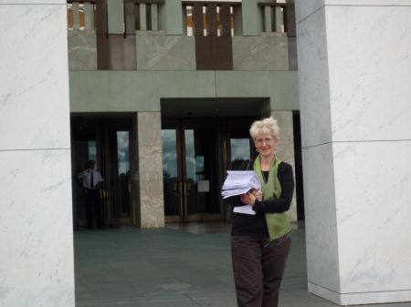 Sheryl Gwyther from Saving Aussie Books campaign with the petition in Canberra